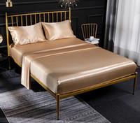 الشحن مجانا عالية الجودة غطاء لحاف الحرير ملاءات السرير أربع مجموعات قطعة الفراش 9 اللون على بيع مجموعات المعزي