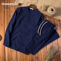 Two pieces 2020 Autumn men Cotton and linen shirts Long slee...