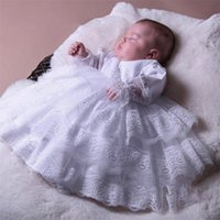 Pure White Lace Christening Dresses For Babies Long Sleeve Tiered Skirts Toddler Baptism Gowns Kids First Communication Dress
