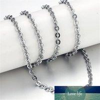 2.2mm 316L de aço inoxidável colar de prata redondo cadeias de rolos para homens mulheres hip hop moda jóias nova venda 45 50 55cm presente de natal