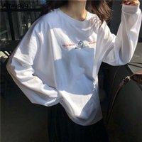 Women's T-Shirt Long Sleeve T-shirts Women Printed Simple O-Neck All-match Harajuku Womens Fashion Students Chic Soft Comfortable Daily