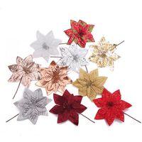 Decorazioni natalizie 16 cm simulazione scintillio fiore fiore fai da te albero di natale appeso scrapbook artigianato artigianale per l'ornamento della festa domestica