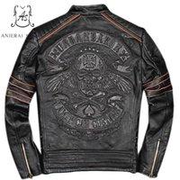 Taille Plus de véritables hommes de veste en cuir de vache fait vintage rétro punk noir brodé crânes effiloché manteau de bombardier moto