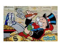 Wlong Grande huile Taille peinture Monopoly 2 Graffiti Wall Art Image Home Décor Salon toile moderne d'impression Peintures