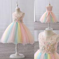 Fancy Flower Princess Dresses per ragazze Rainbow Vestiti per neonati per ragazze Abbigliamento per il compleanno senza maniche Abito da festa