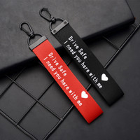 Red black Drive Safe Lanyard Key ring Heart Love You Safe Drive Car keychain Ribbon Bag Hangs for Women Men Fashion Jewelry Will and Sandy Gift