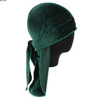 tappi pirati unisex di lusso velluto Durags Bandana Cappello Turbante parrucche Doo Durag motociclista Copricapo fascia Pirate Hat Accessori per capelli GD552
