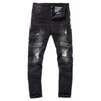 Jeans pour hommes Envemenst style de style Thoughst Cordon de remise en forme mi-à-taille Hip Hop Harem Pants Hole Denim