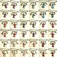 Vintage Silver младенца Тема Bacifier детская коляска для ног медведя броши для женщин Mixed жемчужные Крылья ангела Брошь Pin Boho куртка платье ювелирные изделия