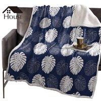 بطانيات بدوارة رمي بطانية البحرية نبات استوائي الخيزرانالكيتات الصوف الشتاء أغطية السرير