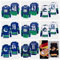 43 Quinn Hughes 40 Elias Pettersson 2020 Vancouver Canucks 6 Brock Boeser 53 Bo Horvat Baertschi Pearson Demko Estilo Hóquei Jersey