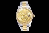 Twfactory Birçok Renk erkek 9001 Otomatik Saatı Altın Çift Zaman Bölgesi İzle Erkekler 326938 Sky Dweller GMT Safir Cam Kristal 326935