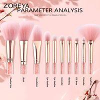 ZOREYA 10PCS Rosa di Cristallo pennelli trucco Fondotinta Correttore Fard compongono l'insieme di spazzola molle eccellente dei capelli sintetici cosmetici Strumenti