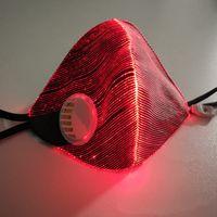 7 Couleur de lumière fixe ou clignotante fibre optique jusqu'à conduit masque de visage avec filtre à évent à soupape pour la partie des accessoires de la barre de DJ de partie fluorescente