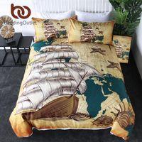 BeddingOutlet Veliero Federa programma nautico Quilt Cover Retro Biancheria da letto Oceani Conchiglie Copriletti Brown 3pcs