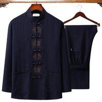 do Bordado Homens chinês Outono Algodão Linho Wu Shu roupa camisa de manga longa Pant Long Tai Chi terno Grande Tamanho 4XL