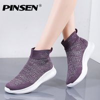 الأحذية pinsen 2021 الخريف المرأة جودة عالية مريحة الكاحل الثلوج الانزلاق على الشقق السيدات chaussures فام