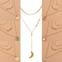 Bohemian Multi-layer Letters Angel Heart Necklaces Chokers Fashion Star Moon Pearl Snake Chains Pendant Necklace Set Jewelry