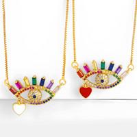2020New micro intarsi arcobaleno cz zirconi collana della pietra, placcata oro 18k turco collana malocchio, malocchio collana monili d'ottone insta