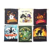 Crânio dos doces com cordão Halloween Canvas Gift Bag Crianças Bag abóbora do gato da bruxa impresso bolso feliz Saco do presente do Dia das Bruxas