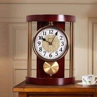 مكتب الجدول الساعات الأوروبي الرجعية ساعة غرفة المعيشة مكتب كتم سطح البندول نوم ووتش بسيطة كوارتز الجدار هدية