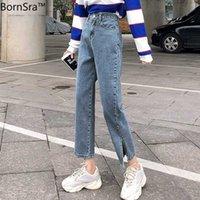 Женские джинсы Bordsra Spring Fashion Women Denim 2021 High-талию прямо для боковых сплит винтажные женские длинные брюки