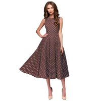 Yaz Kadınlar Uzun Elbise 2020 Şık Polka Dot Kolsuz Günlük Elbiseler Vintage Parti Elbise Kadın Giyim yazdır