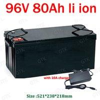 impermeable 96v 80ah bateria de iones de litio batería de ion de carrito de golf RV coche AGV marina turística Caravana E-barredora + 10A Cargador