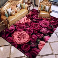 카펫 3D 인쇄 장미 꽃 카펫 러그 침실 거실에 대 한 여러 가지 빛깔의 핑크 레드 결혼식 안티 - 슬립 바닥 매트