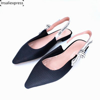 100% Genuine Leather Women's Shoes Fashion Flat Shoes Pointed Toe Ankle Straps Butterfly-Knot Slip-on Summer 34-42