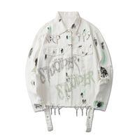 Мужские куртки панк белые разорванные джинсовые куртки пальто 2021 хип-хоп уличная пара пары разрушено письмо напечатано горный хрусталь мода рок джинсы пальто