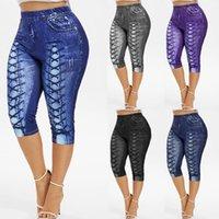 Kadın Artı Boyutu Kısa Kot Yeni Varış Yaz Baskı Capris Kıyılmış Yırtık Stil Denim Kot Sıska Pantolon 3 Renk Boyutu S-5XL