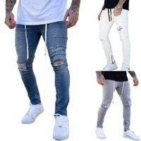 3 Styles Trendy Männer dünne Jeans Biker Zerstörte ausgefranste Fit Denim zerrissene Denim-Hosen Seitenstreifen Bleistift-Hosen Hip Hop Street