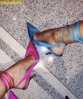 Choudory Neueste Satin-Tuch-Absatz-Schuhe Silk Gewebe-V-out Schnürverschluss Bankett Pumpen Pointy Toe Hochzeit Heels Size47