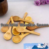 9 cm Mini de madera de bambú Cuchara precioso condimento cuchara de helado de cucharas de madera cubiertos 100 PC / porción