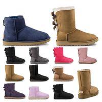 Yeni Varış Bayan Ayakkabı Klasik Kar Botları Ayak Bileği Kısa Yay Kürk Patik Kış Kestane Pembe Kadın Ayakkabı Boyutu 36-41 Moda Açık