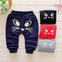 Бесплатная доставка моды Прекрасные Новорожденный Baby Girl Boy мультфильм Cat Печатные повседневные брюки Спортивные брюки Z0129