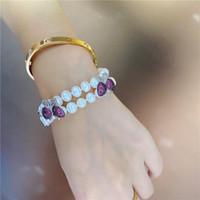 Mode main micro marqueterie papillon coloré naturel zircon bracelet de perles d'eau douce blanc 8-9mm luxe 20cm