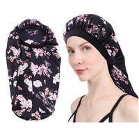 100st Extra Long Satin Bonnet Kepsar För Kvinnor Sömn Cap Bonnets Soft Night Sleep Hair Loose Cap med Wide Band