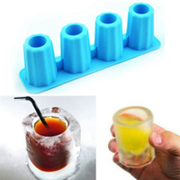 Ice Cube 3D criativo Mold Food Grade Congelar 4 celular longas Cups Mold presentes Novidade Summer Party Tray Bar Cozinha Copos Acessório VT1525