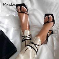Pzilae 2020 мода лето платья партии обуви крест ремень шнуровке насосы женщины ботинки высокой пятки гладиатор сандалии размер 42