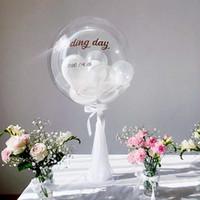 LED balon standı 35cm Bobo balon sopa Düğün masa dekorasyonu veya Çocuk doğum günü partisi parlaklık malzemeleri Organze iplik çocuklar lehine