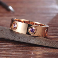 Liebesringe Edelstahl Rose Gold Ring Farbe für Frauen Männer Paare CZ-Kristallringe Schmuck Anillos Mujer