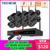 أنظمة Techege 8ch NVR 3MP CCTV نظام الأمن اللاسلكي كيت سجل الصوت في الهواء الطلق P2P WiFi كاميرا IP تعيين مراقبة الفيديو