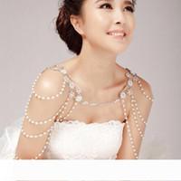 Обручальная свадьба кристалл волна цепь для женщин жемчуга кисточки горного хрусталя ожерелья плеча цепи красивой невесты свадьба кристалл волна цепь