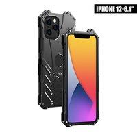 R-apenas capas de telefone de metal para iphone 12 mini 11 pro max xr x 8 mais 7 6s alumínio à prova de choque capa armadura anti-knock celular