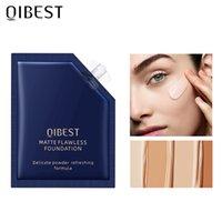 QIBEST Flüssige Foundation Concealer Langlebig Makeup Concealer Creme Feuchtigkeitsspendende Erhellen Gesicht Make-up für 7 Hautfarben TSLM1