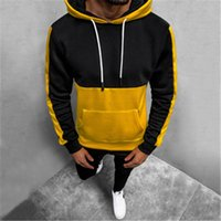 Man Colorblocked Hooded Sweater Fashion Occident Trend Long Sleeve Pullover Hoodies Designer Male With Pockets Slim Casual Sweatshirts