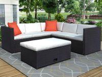 3-5 jours Expédition 4 pièces coussinée patio extérieure PE Rattin meuble ensemble canapé de jardin avec brun rattanbeige coussin sh000026aaa