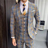 Ternos Masculinos Autumn Khaki Gray Plaid Suits Men 2020 Classic Mens Wedding Suits Slim Fit Formal Business Jacket+Pants+Vest